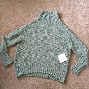 NWT Cynthia Rowley Green Knobby Knit Sweater